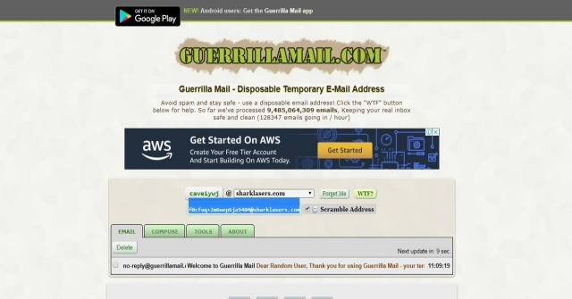 Guerrilla webmail
