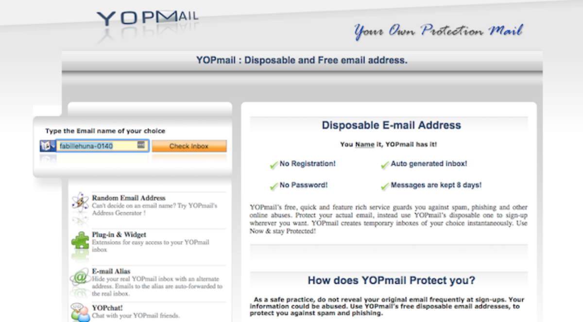 Yopmail Email Sign in