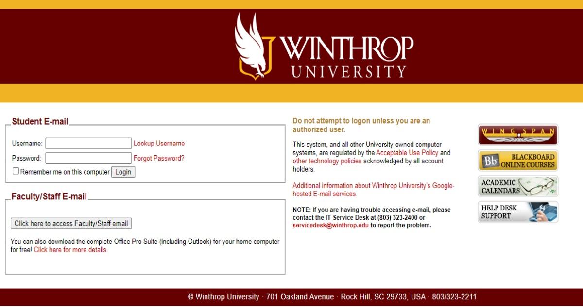 Winthrop.Edu Email