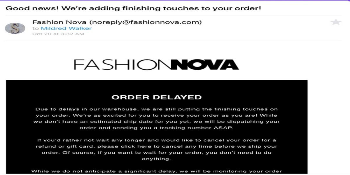 Cancel Fashion Nova Order
